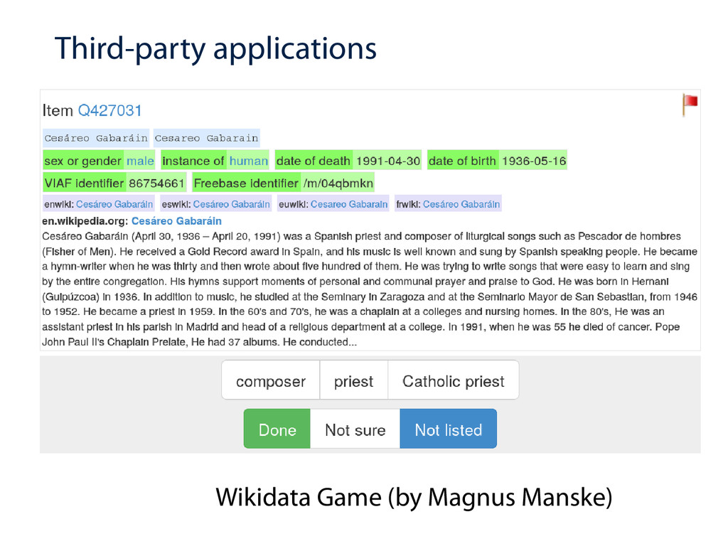 Third-party applications Wikidata Game (by Magn...