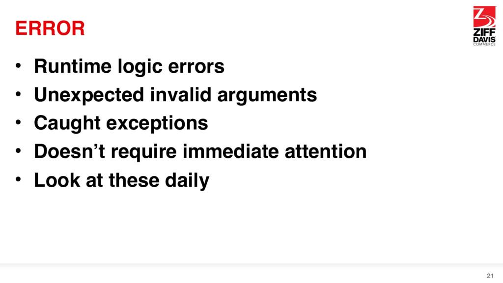 ERROR • Runtime logic errors • Unexpected inval...