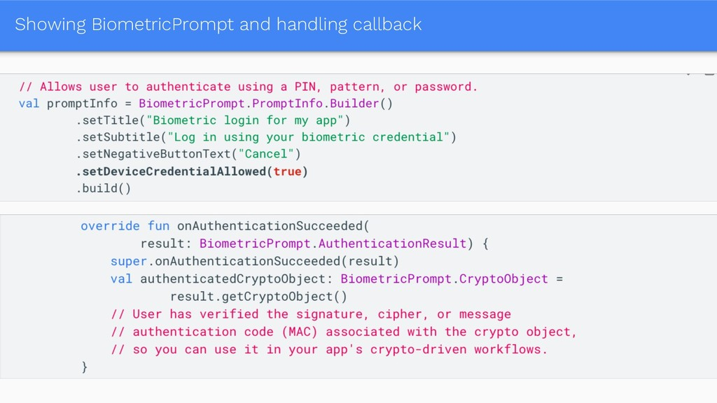 Showing BiometricPrompt and handling callback