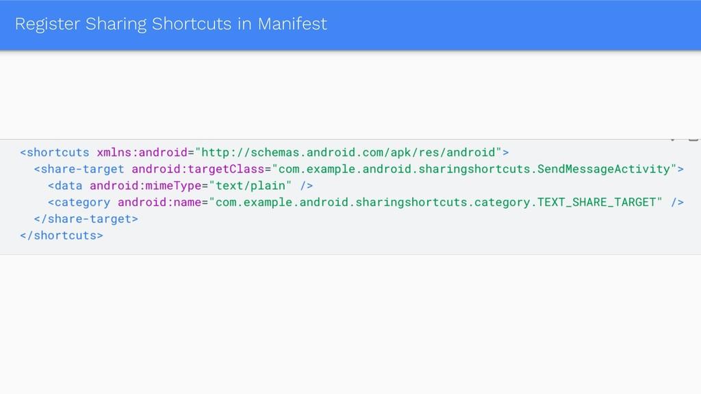 Register Sharing Shortcuts in Manifest