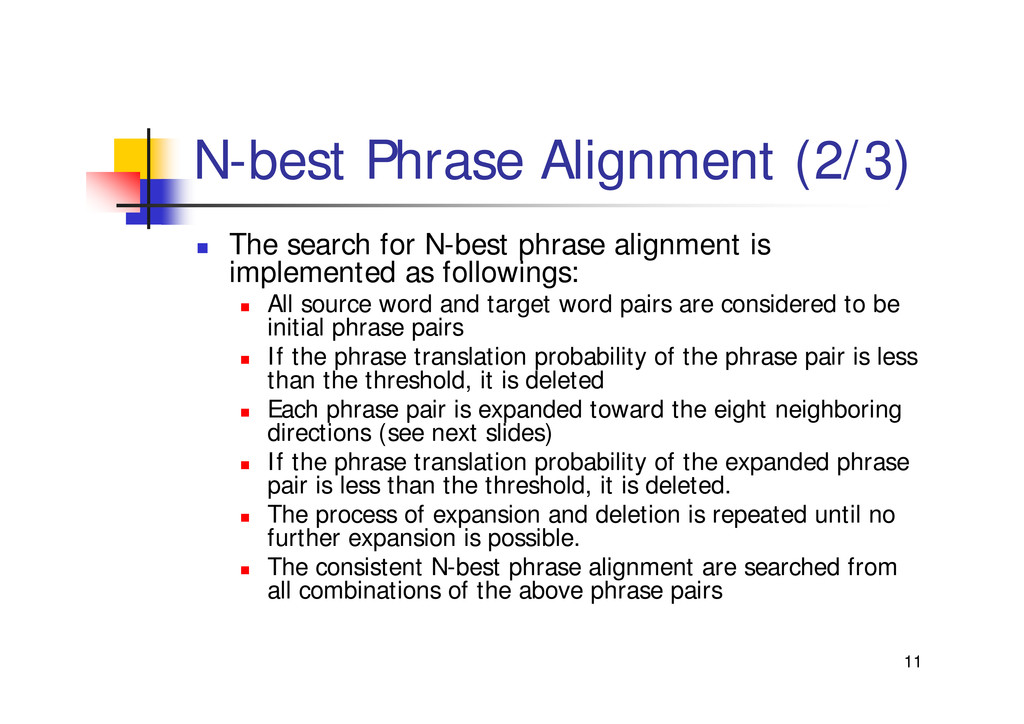 "11 N-best Phrase Alignment (2/3) "" The search f..."