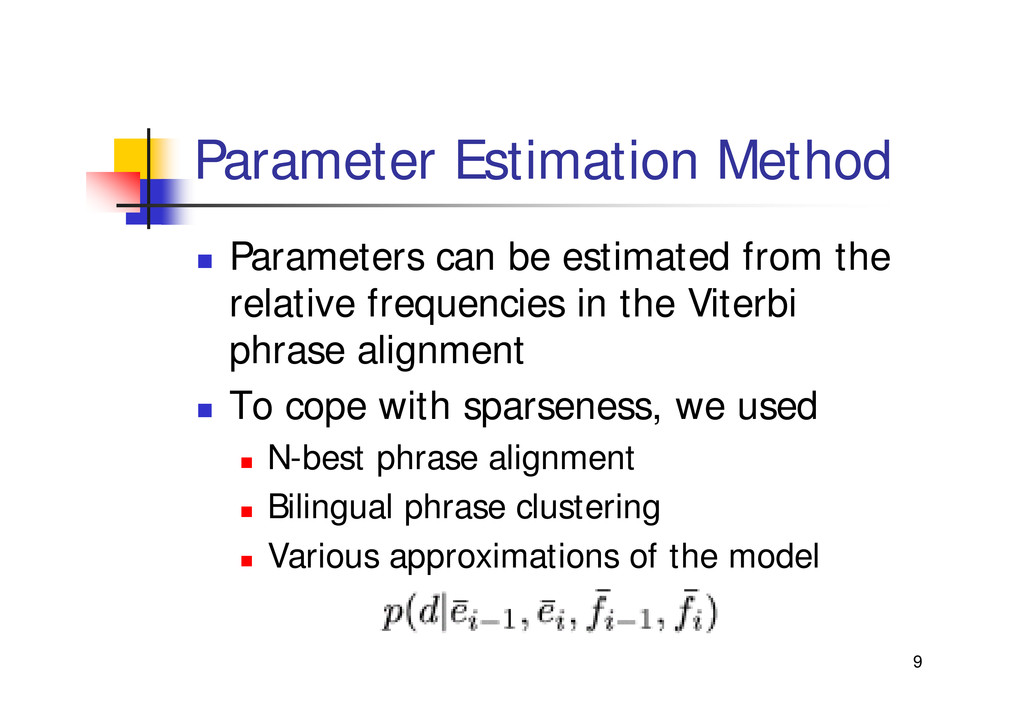"9 Parameter Estimation Method "" Parameters can ..."