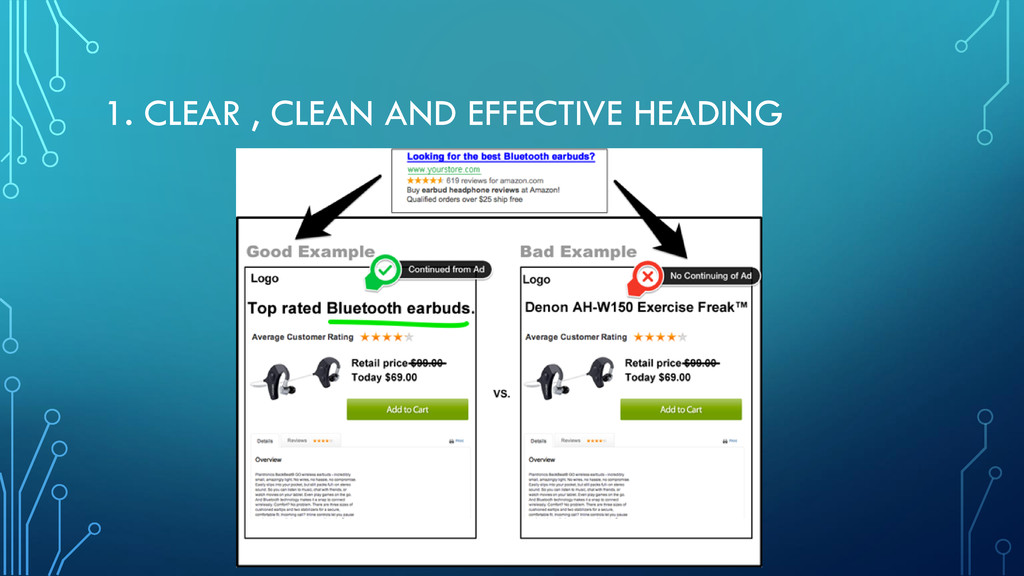 1. CLEAR , CLEAN AND EFFECTIVE HEADING