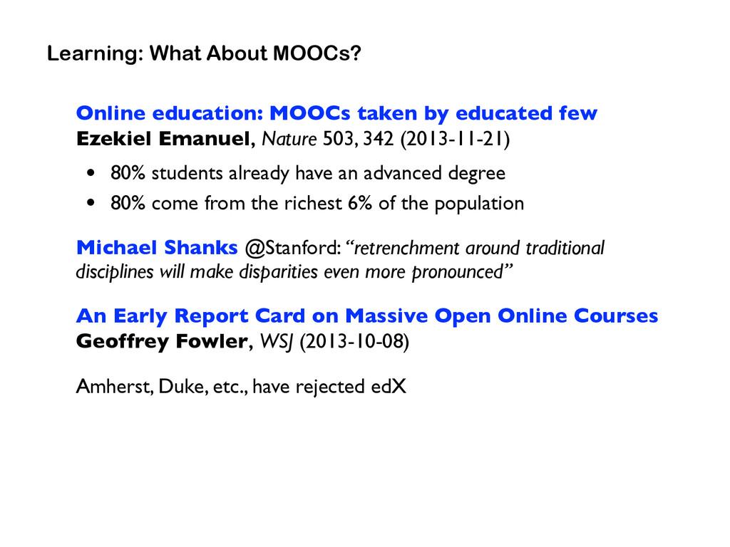 Online education: MOOCs taken by educated few ...