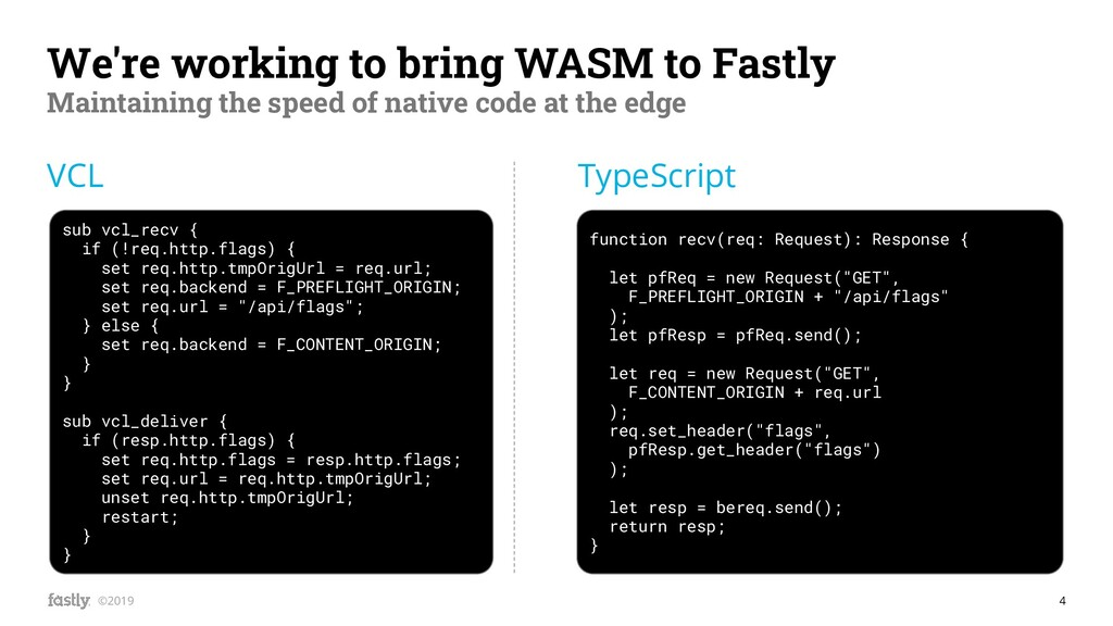 4 ©2019 We're working to bring WASM to Fastly M...