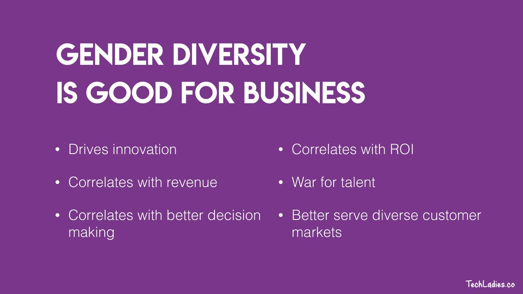 Gender Diversity is good for business • Drives ...