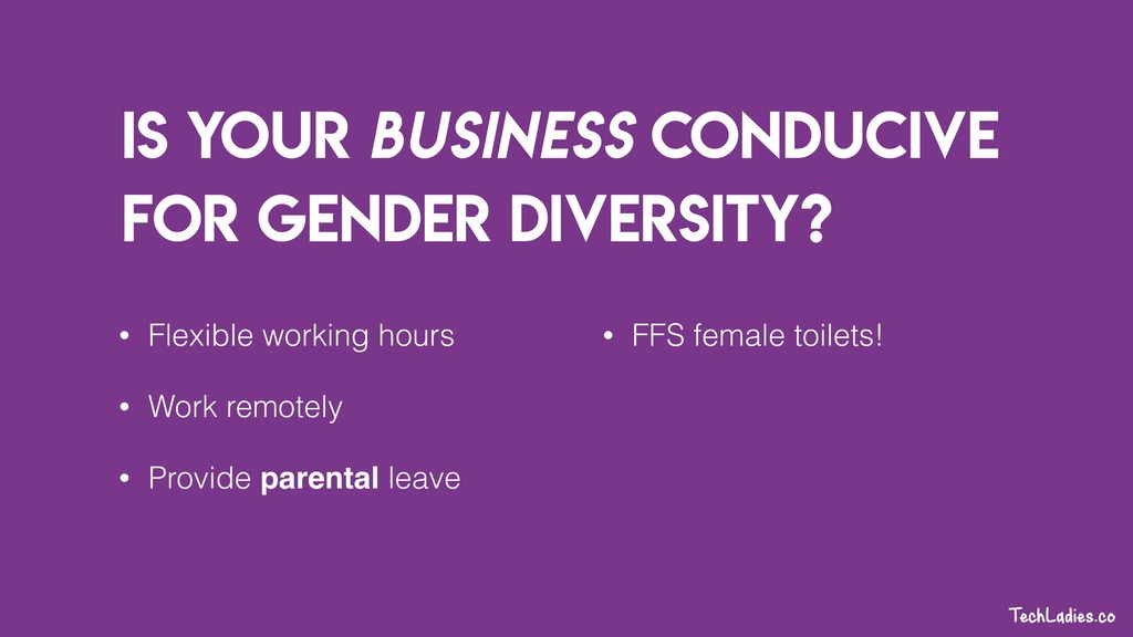 Is your business conducive for gender diversity...