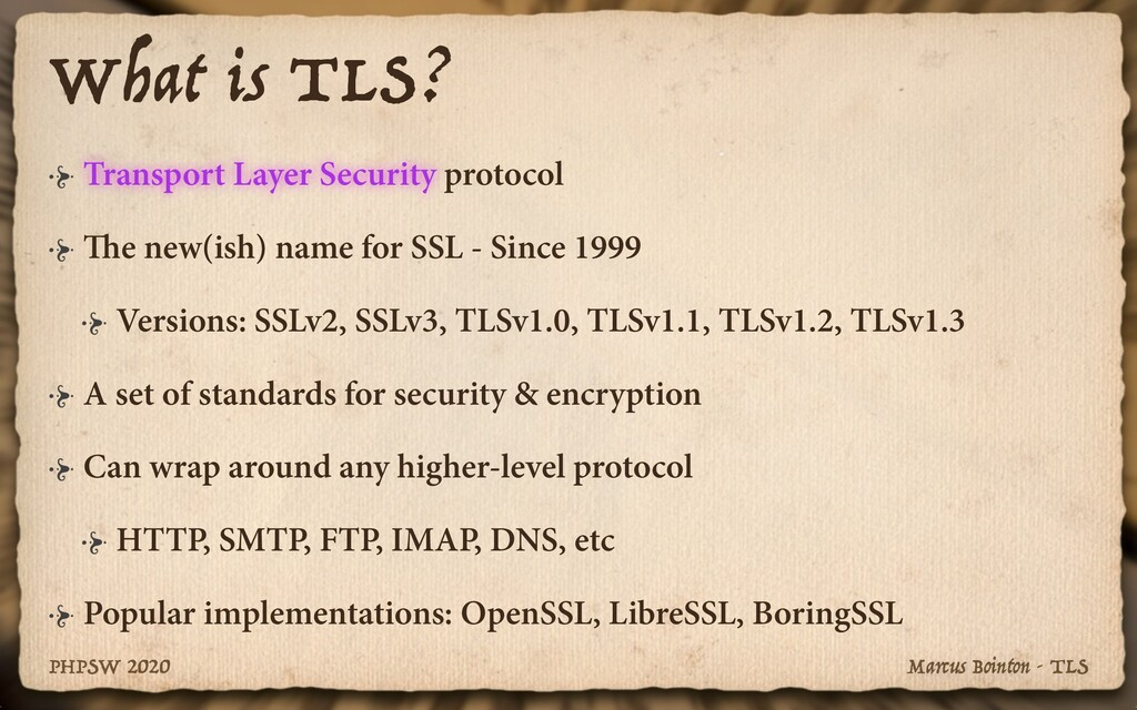 Marcus Bointon - TLS PHPSW 2020 What is TLS? Tr...
