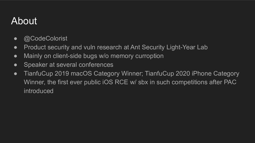 About ● @CodeColorist ● Product security and vu...