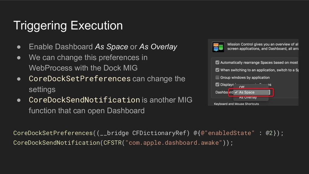 Triggering Execution ● Enable Dashboard As Spac...