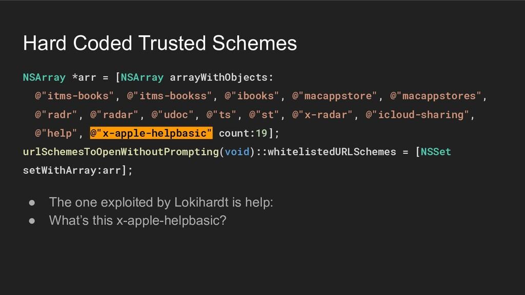 Hard Coded Trusted Schemes NSArray *arr = [NSAr...