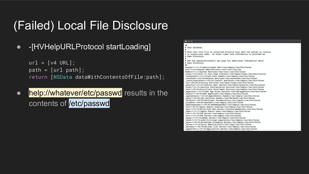 (Failed) Local File Disclosure ● -[HVHelpURLPro...