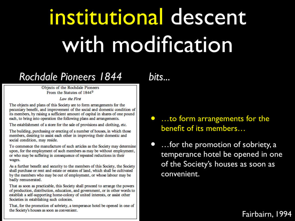 institutional descent with modification Rochdale...