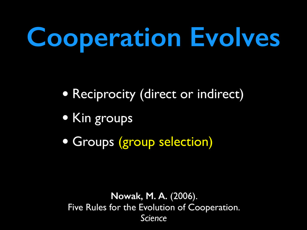 Cooperation Evolves Nowak, M. A. (2006). Five R...