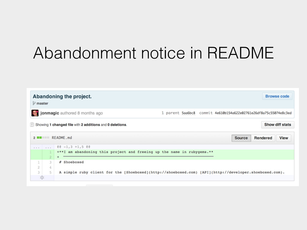 Abandonment notice in README