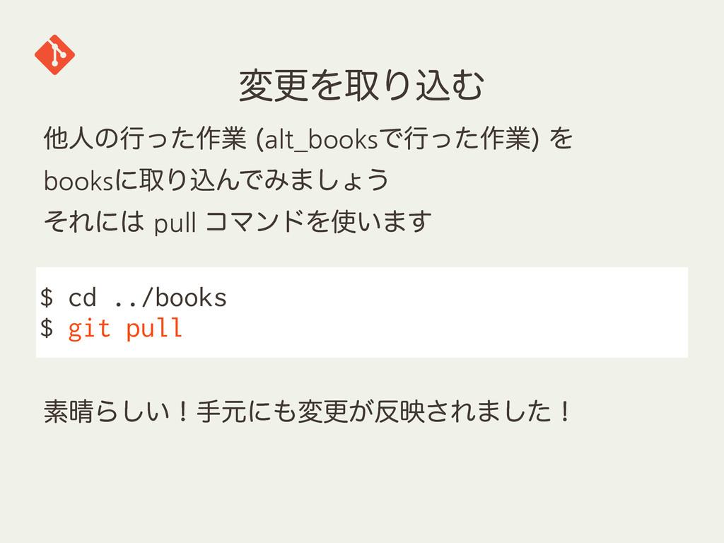 มߋΛऔΓࠐΉ $ cd ../books $ git pull ଞਓͷߦͬͨ࡞ۀ alt_...