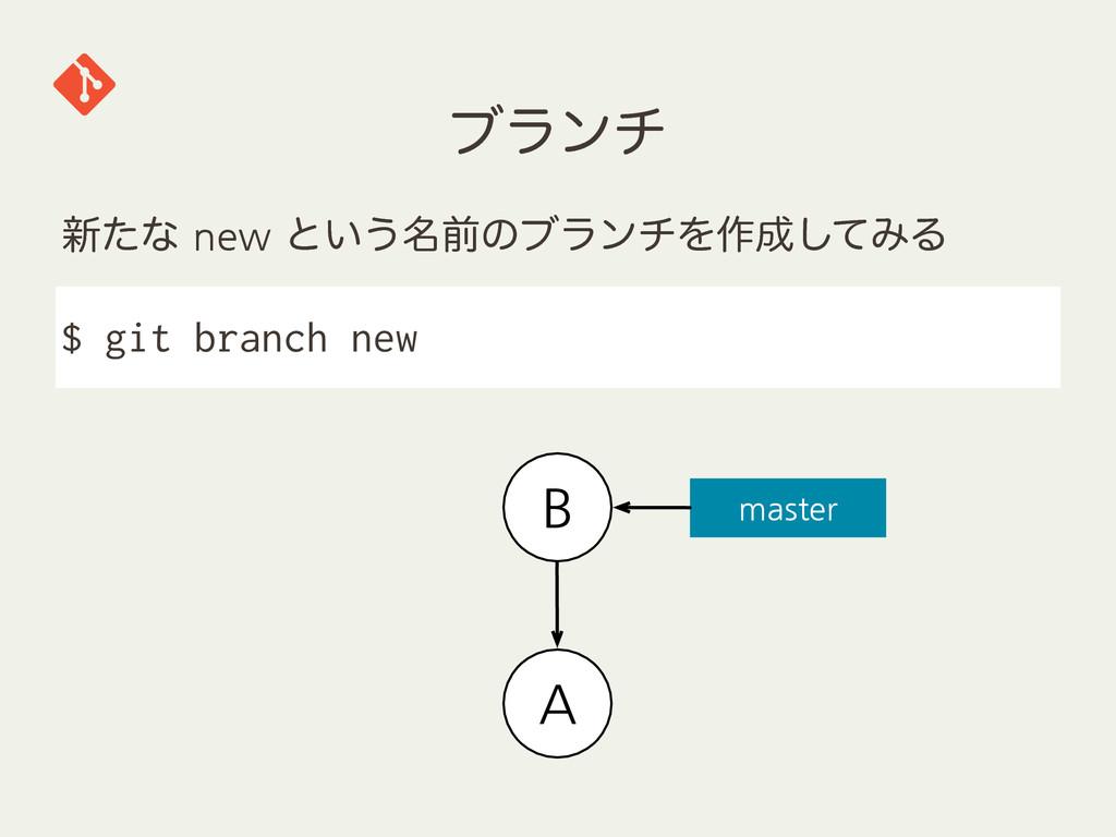 ϒϥϯν ৽ͨͳnewͱ͍͏໊લͷϒϥϯνΛ࡞ͯ͠ΈΔ $ git branch new...