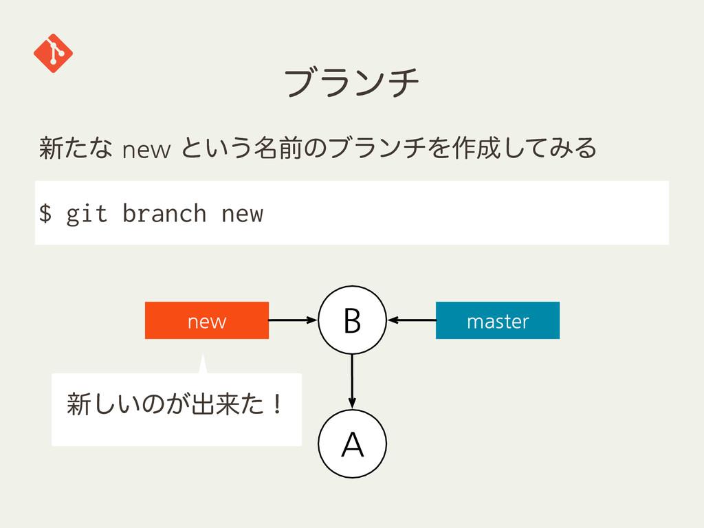 ϒϥϯν $ git branch new       ৽͍͠ͷ͕ग़དྷͨʂ ...