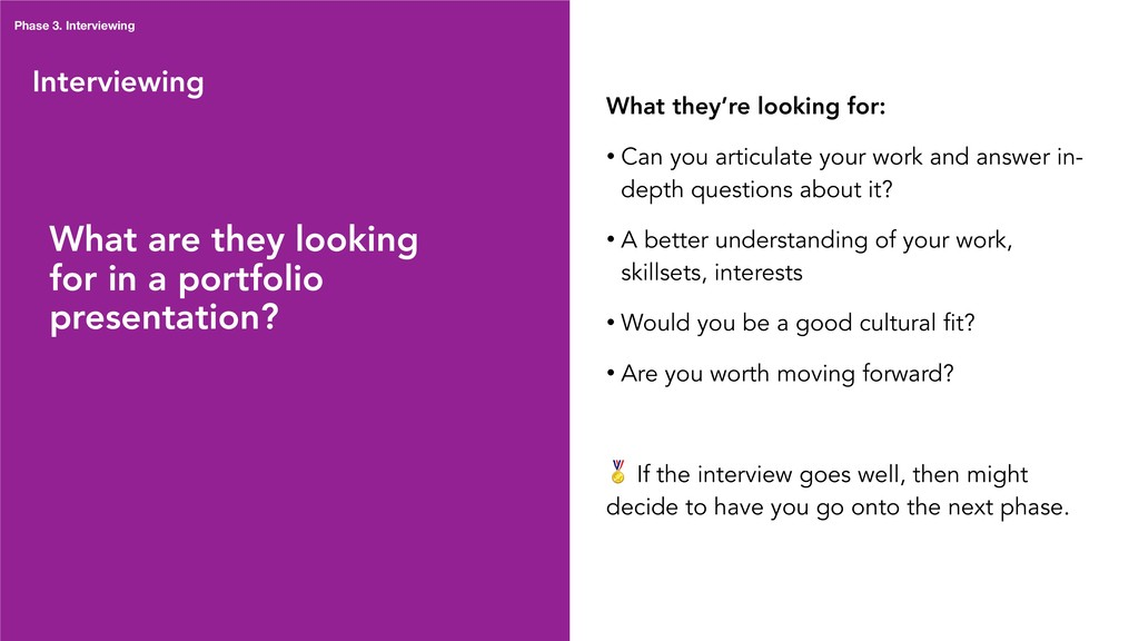 Interviewing What are they looking for in a por...