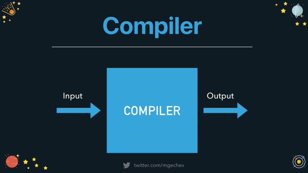 twitter.com/mgechev Compiler COMPILER Input Out...