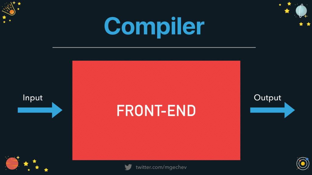 twitter.com/mgechev Compiler Input Output FRONT...