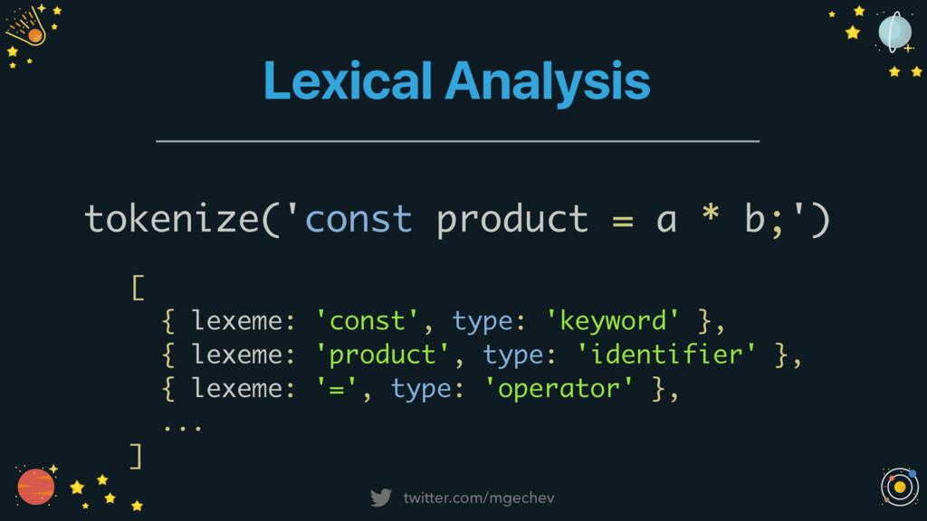 twitter.com/mgechev Lexical Analysis tokenize('...