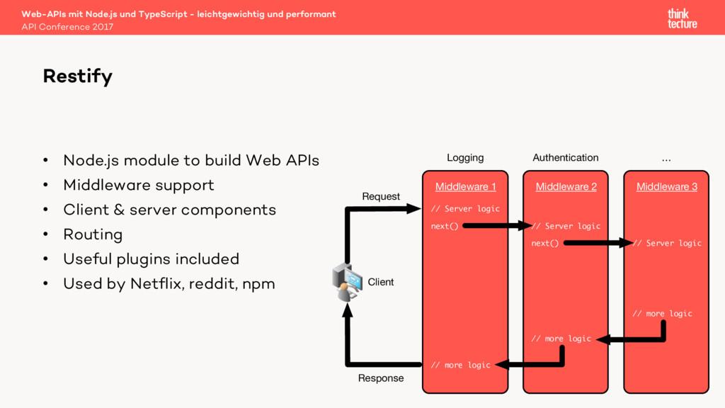 • Node.js module to build Web APIs • Middleware...