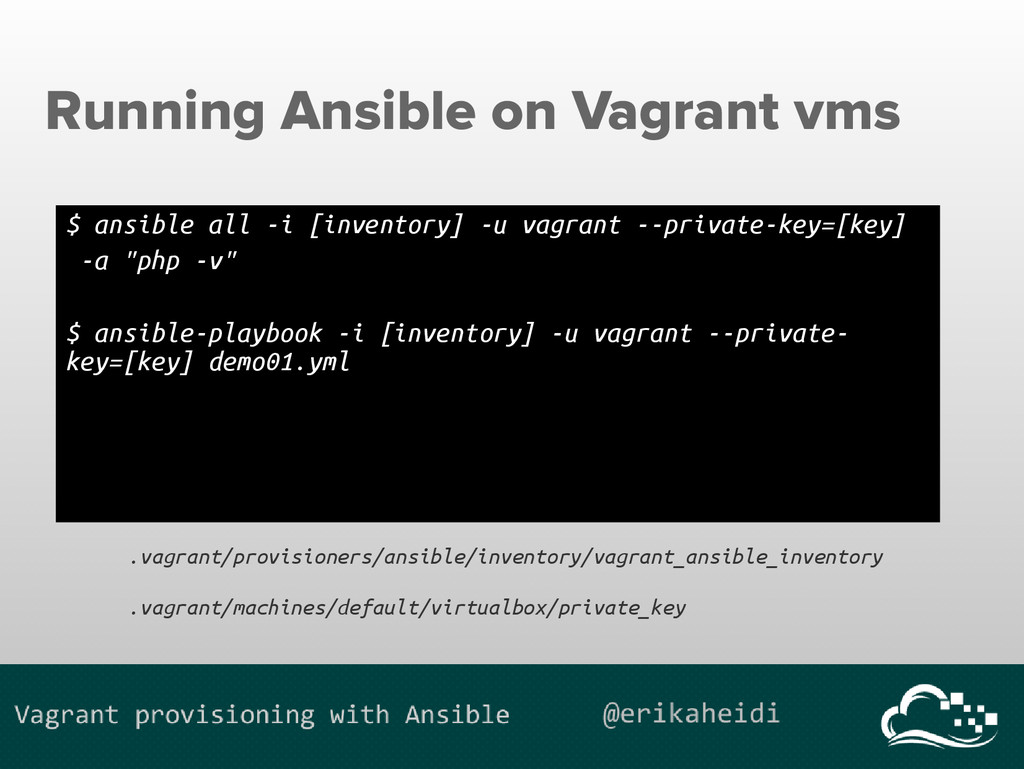 Running Ansible on Vagrant vms $ ansible all -i...
