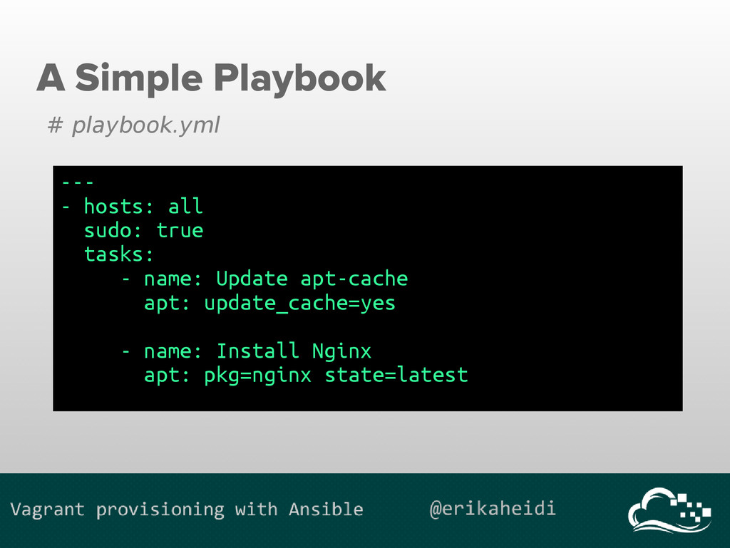 A Simple Playbook # playbook.yml --- - hosts: a...