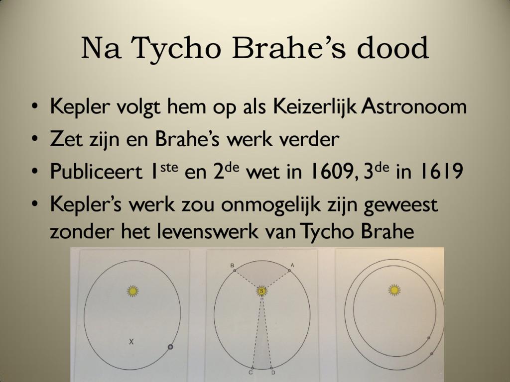Na Tycho Brahe's dood • Kepler volgt hem op als...