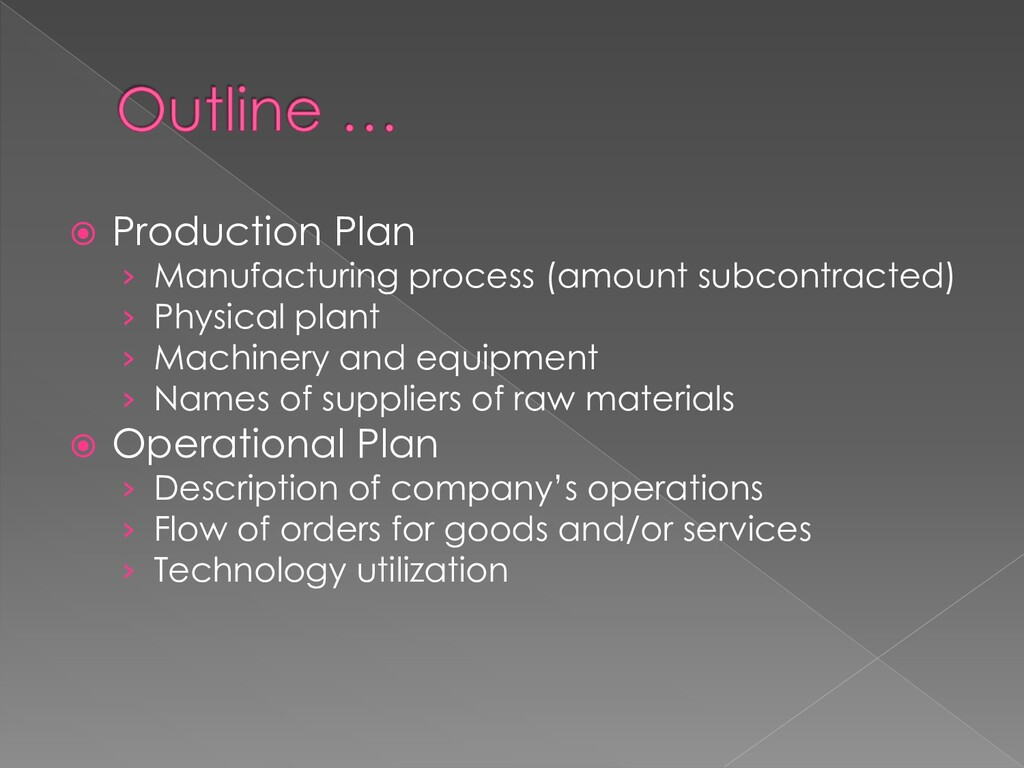  Production Plan › Manufacturing process (amou...
