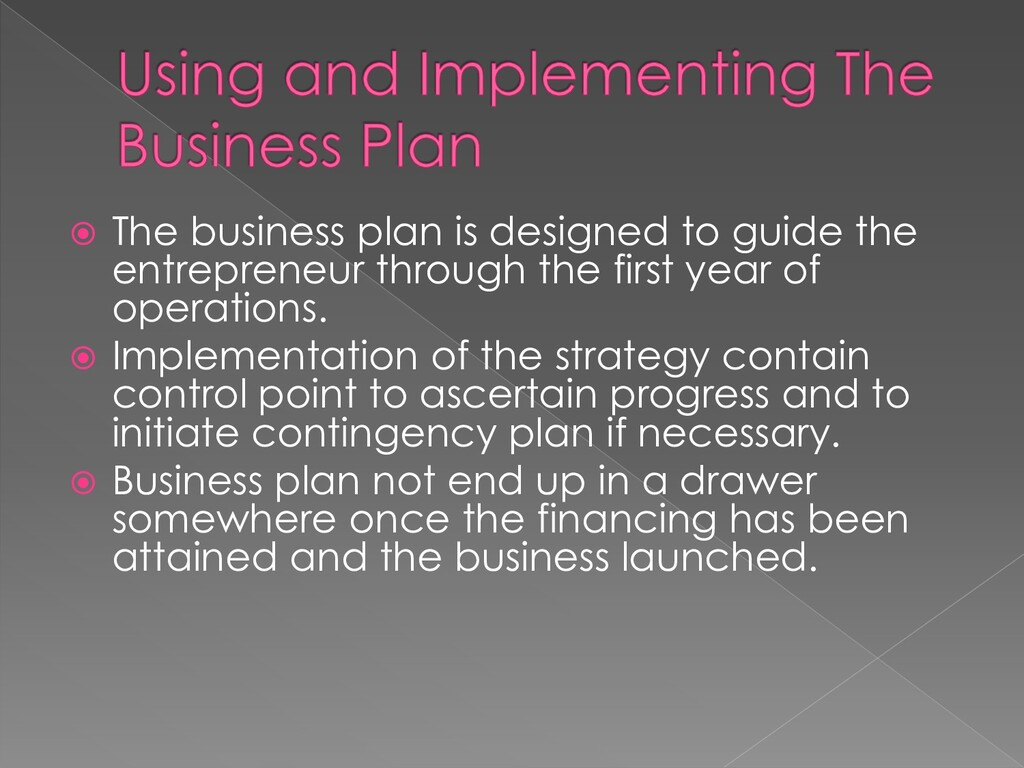  The business plan is designed to guide the en...