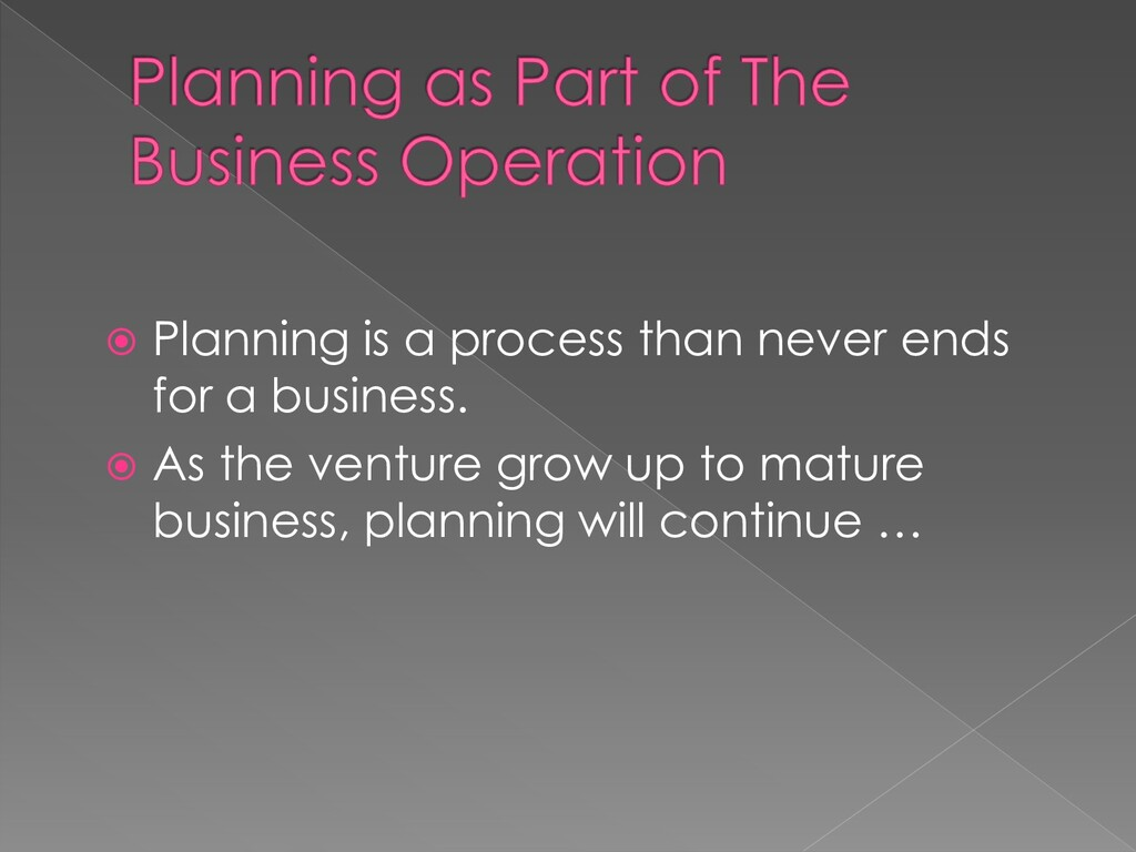  Planning is a process than never ends for a b...
