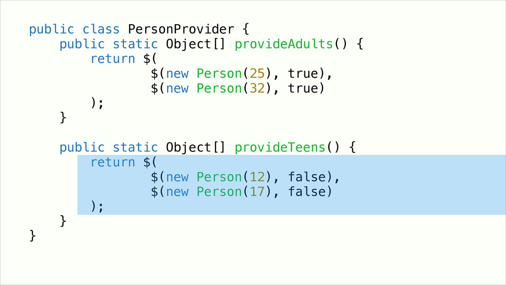 ! ! public class PersonProvider { public static...