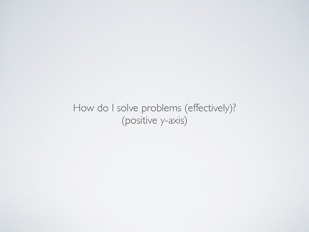 How do I solve problems (effectively)?	 