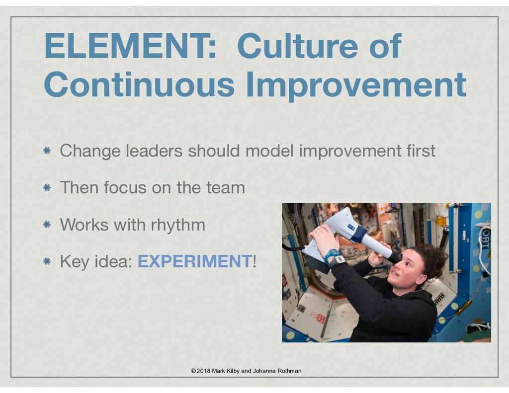 ELEMENT: Culture of Continuous Improvement Chan...
