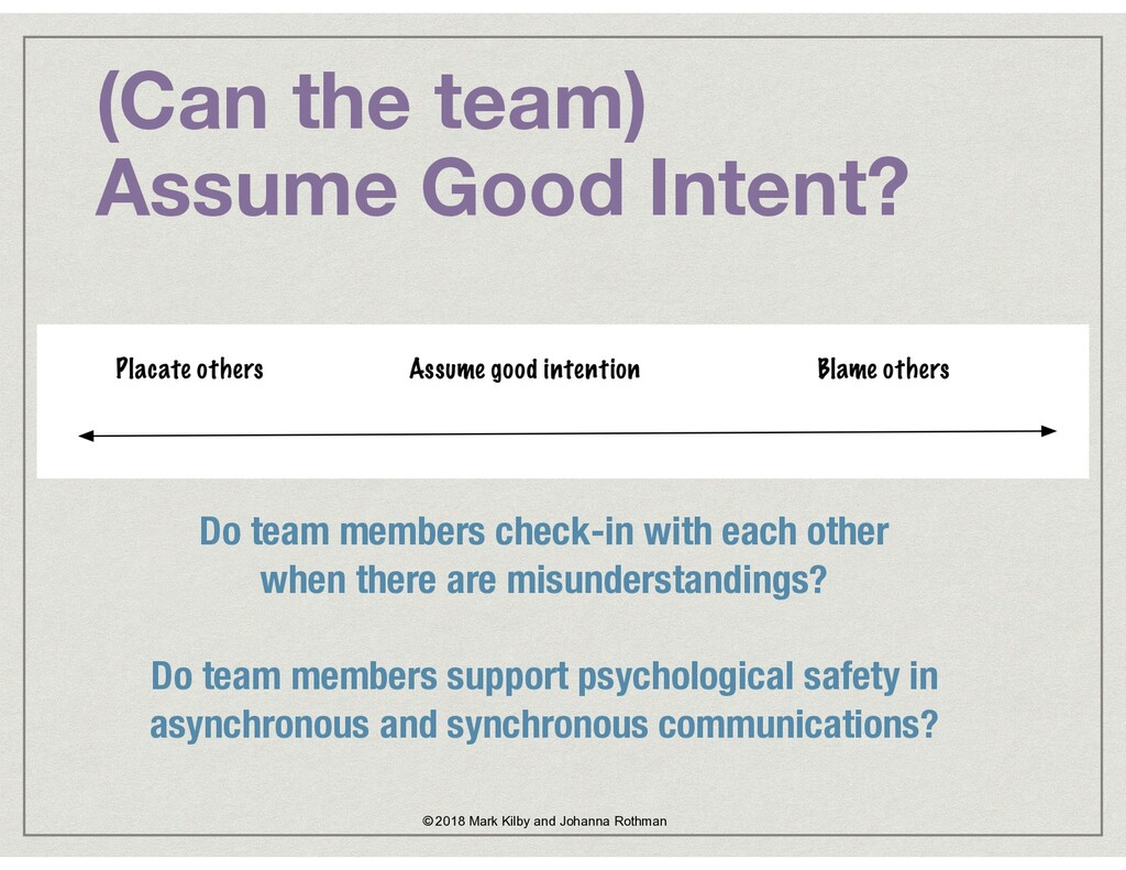 (Can the team)  Assume Good Intent? Do team me...
