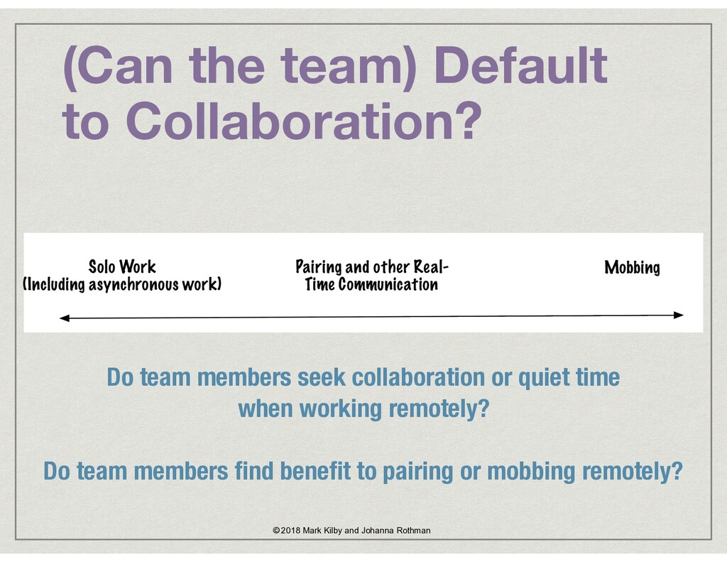 (Can the team) Default to Collaboration? © 2018...
