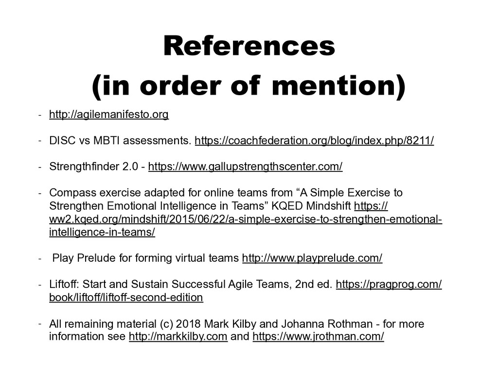 References  (in order of mention) - http://agi...