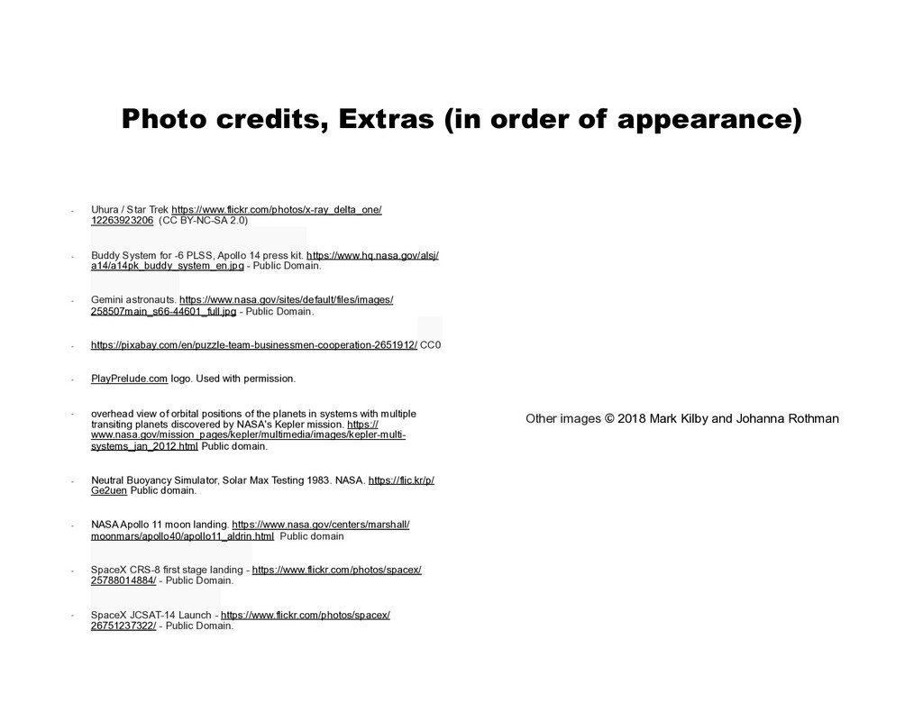 Photo credits, Extras (in order of appearance) ...