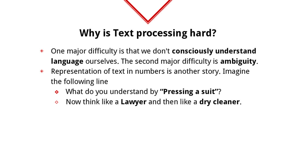 Why is Text processing hard? ◈ One major diffic...