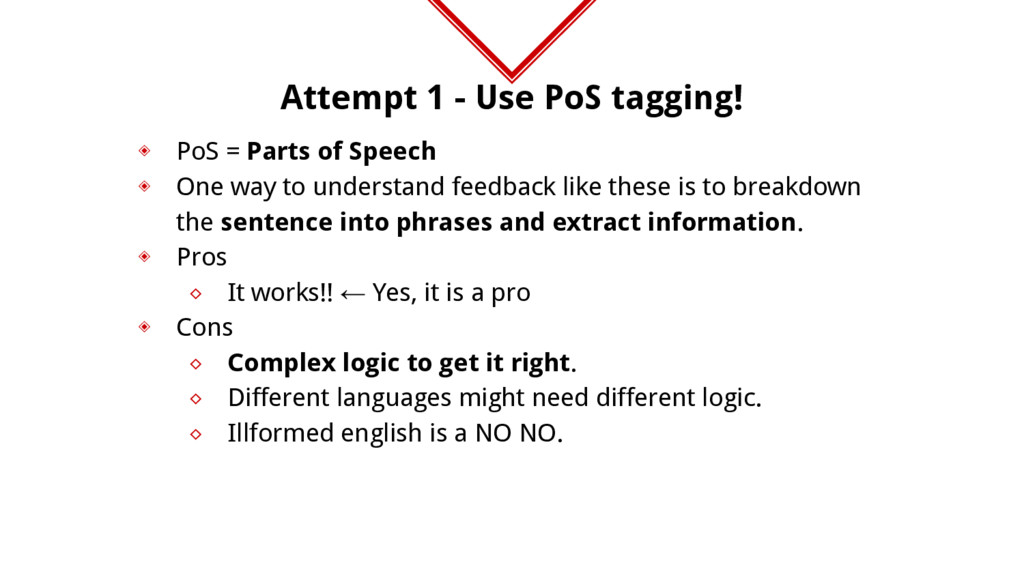Attempt 1 - Use PoS tagging! ◈ PoS = Parts of S...