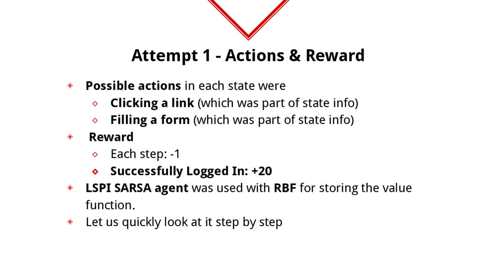 Attempt 1 - Actions & Reward ◈ Possible actions...