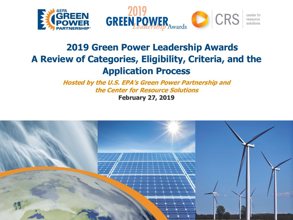 2019 Green Power Leadership Awards A Review of ...