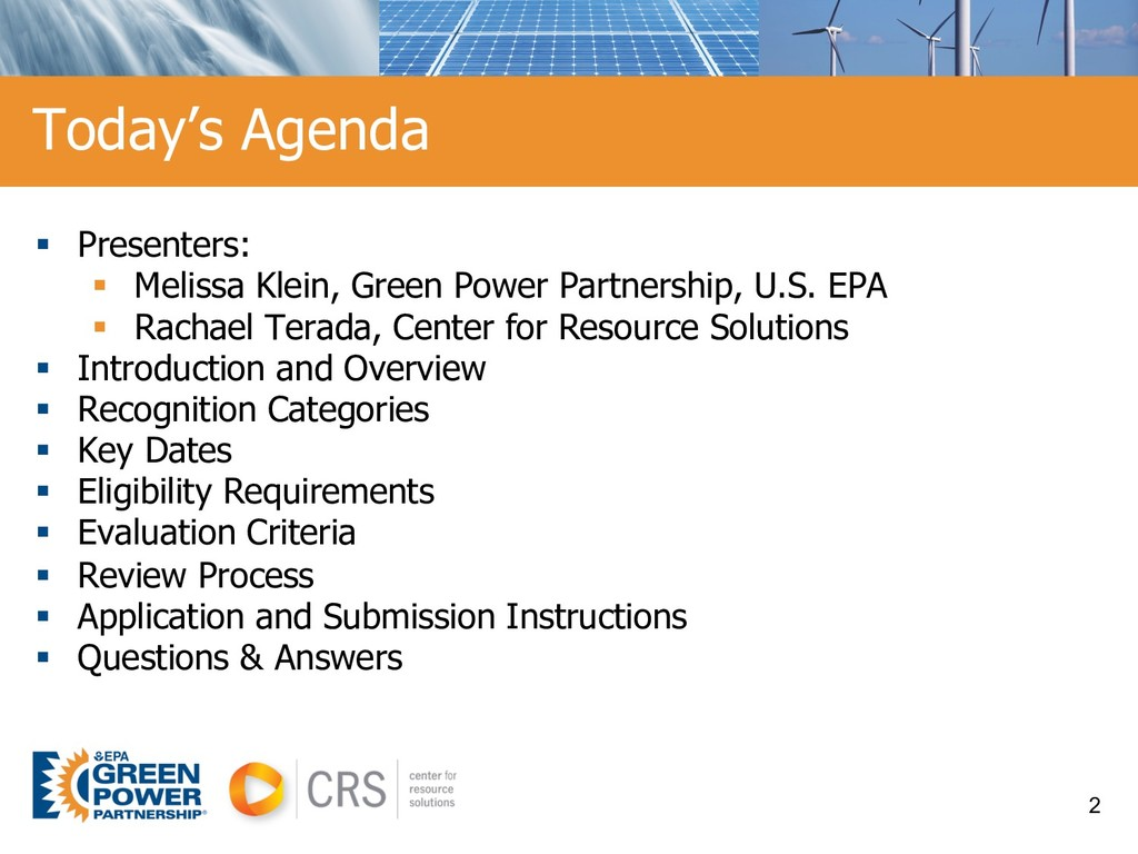 § Presenters: § Melissa Klein, Green Power Part...