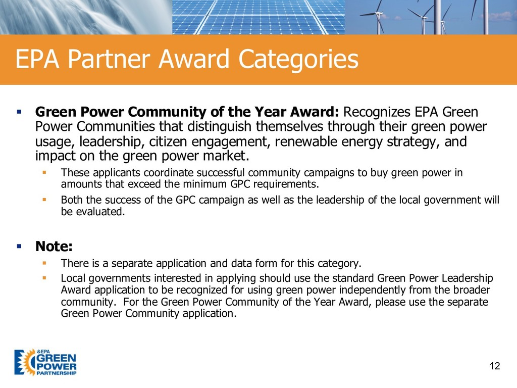 § Green Power Community of the Year Award: Reco...