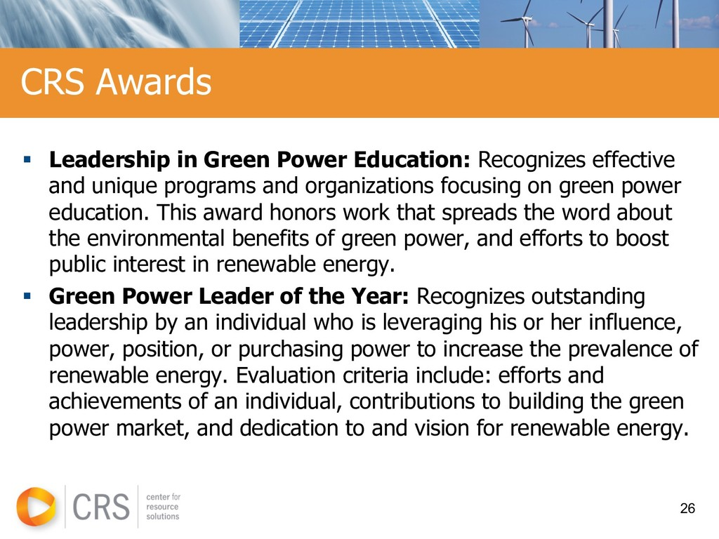 § Leadership in Green Power Education: Recogniz...