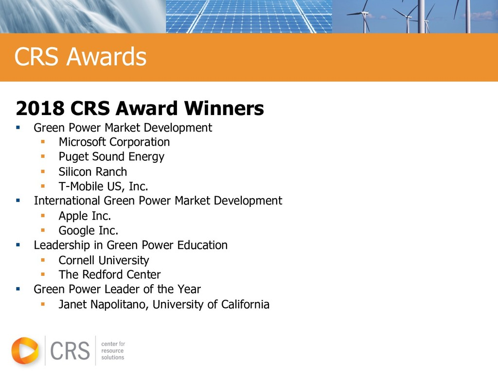 2018 CRS Award Winners § Green Power Market Dev...