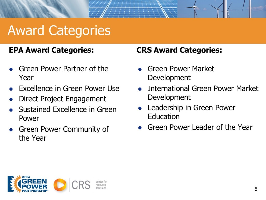 Award Categories EPA Award Categories: l Green ...