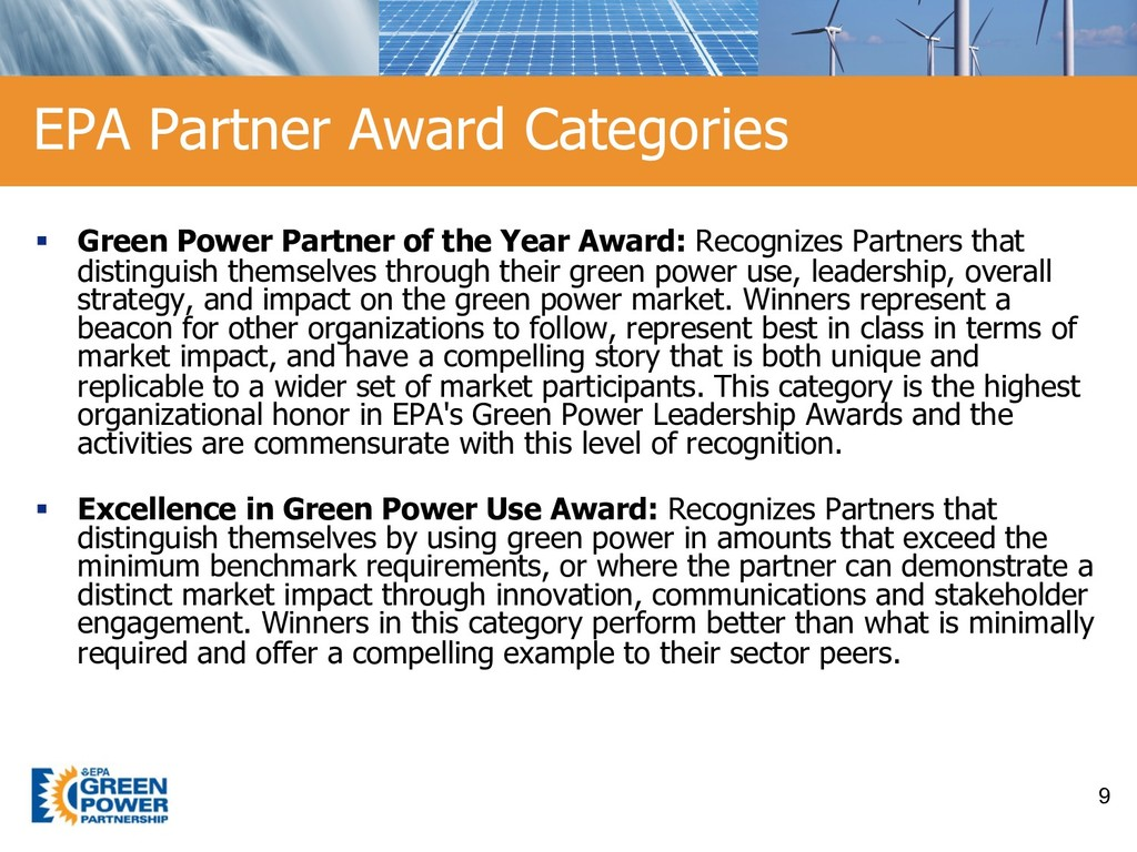 § Green Power Partner of the Year Award: Recogn...